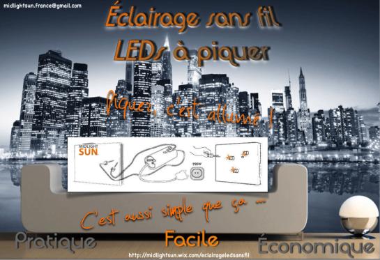 MIDLIGHTSUN-Innovation technologique de l' Eclairage sans fil : panneau conducteur d'électricité (thermique & phonique) + Luminaire LED sans fil - concept conçu et fabriqué en FRANCE